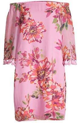 Trina Turk Amaris Off-The-Shoulder Silk Dress