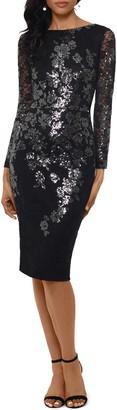 Xscape Evenings Sequin Lace Long Sleeve Cocktail Dress