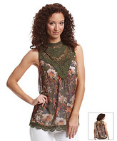 Nine West Vintage America Collection Vintage AmericaCollection® Floral Print Lace Tank