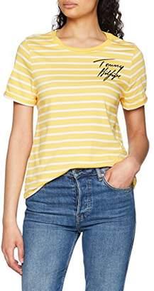 Tommy Hilfiger Women's Erin Round-nk Tee Ss T-Shirt, Multicolour (Samoan Sun/Classic White STP 902), (Size: 36 S)