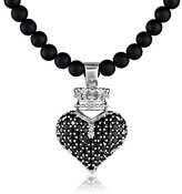 "King Baby Studio 3D Pave Black Crowned Heart Pendant Necklace On 18"" Onyx Bead Necklace"