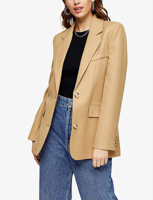 Topshop Single-breasted loose-fit crepe blazer