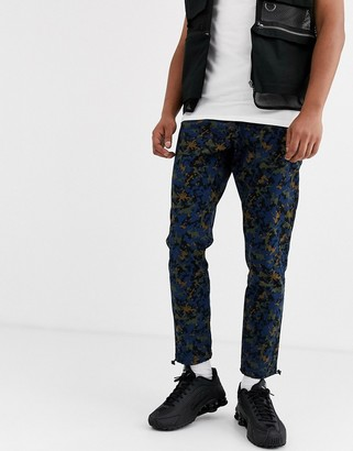 Asos Design DESIGN camo joggers with belt-Navy