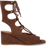 Chloé Lace-up Suede Wedge Sandals - Chocolate