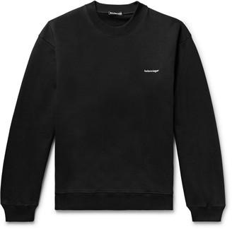 Balenciaga Logo-Print Melange Loopback Cotton-Jersey Sweatshirt