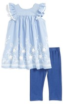 Toddler Girl's Pippa & Julie Embroidered Tunic & Capri Leggings Set