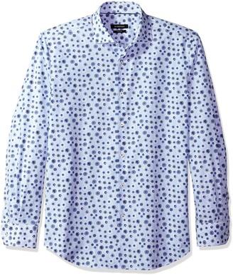 Bugatchi Men's Slim Fit Vintage Tropical Long Sleeve Point Collar Shirt