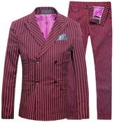 Cloudstyle Mens 3 Piece Suits Slim Fit Formal Wedding Pinstripe Double Breasted Suits