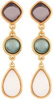 Nakamol Long Golden Triple-Drop Stone Earrings