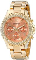August Steiner Women's AS8136YGOR Yellow Gold Multifunction Quartz Watch with Orange Dial and Yellow Gold Bracelet