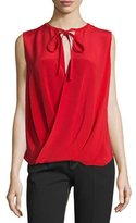 Derek Lam Draped-Front Sleeveless Blouse, Red