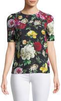 Dolce & Gabbana Short-Sleeve Crewneck Floral-Print Cady Top