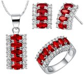 Babao Jewelry Jewelry Sets Babao Jewelry Exotic Red 18K Platinum Plated Cubic Zirconia Crystals Pendant Necklace Earrings Set Ring Size 6
