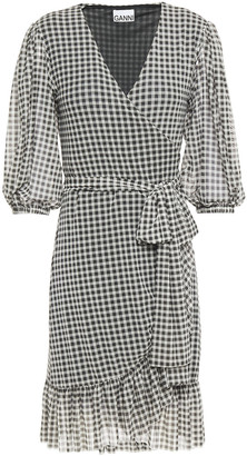 Ganni Ruffle-trimmed Gingham Stretch-mesh Mini Wrap Dress