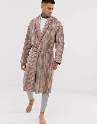 Paul Smith classic stripe light weight dressing gown in multi