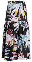 Mara Hoffman Xylophone Black-print gathered linen skirt