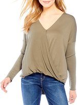 Double Zero Surplice Long Sleeve High Low Top