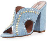 Tabitha Simmons Celia Studded Denim Mule Sandal, Blue