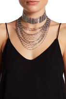 Natasha Accessories Beaded Choker With Layered Chain Necklace