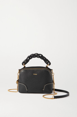 Chloé Daria Mini Textured And Smooth Leather Tote - Navy