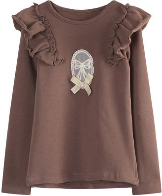 Richie House Girls' Tee Shirts Coffee - Coffee Ruffle Scoop Neck Top - Toddler & Girls