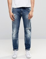 Replay Maestro No.1 Tapered Jeans Mid Wash Extreme Rip Repair
