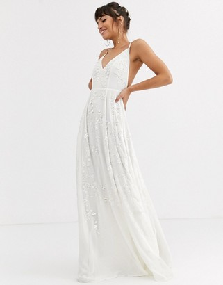 ASOS EDITION cami wedding dress with sequin and bead embellishment