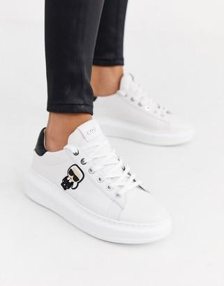 Karl Lagerfeld Paris white leather platform sole trainers with black trim