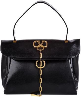 Valentino Black Leather V-Chain Top Handle Bag