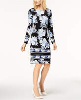 INC International Concepts I.n.c. Petite Printed Striped-Border Sheath Dress, Created for Macy's
