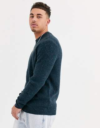 ONLY & SONS fleck ribbed knitted jumper in navy