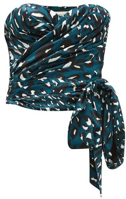 Alexandre Vauthier Leopard Print Stretch Satin Bustier Top - Womens - Blue Print