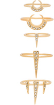 Luv Aj Crescent Spike Ring Set of 5