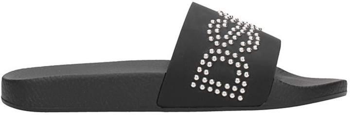 DSQUARED2 Gothika Black Rubber Flats Sandals