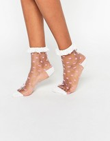 Asos Sheer Polka Dot Ankle Socks With Lace Trim