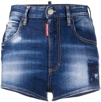 DSQUARED2 Distressed Denim Hot Pants