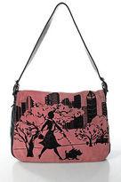 Isabella Fiore Pink Black Suede Leather Embossed Beaded Skyline Handbag
