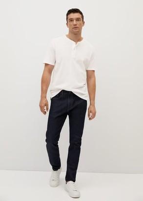 MANGO MAN - Henley cotton T-shirt white - S - Men