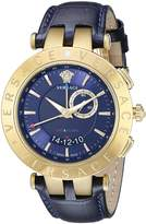 Versace Men's V-Race GMT 29G70D282 S282 Yellow Gold Watch