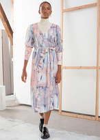 And other stories Puff Sleeve Midi Wrap Dress