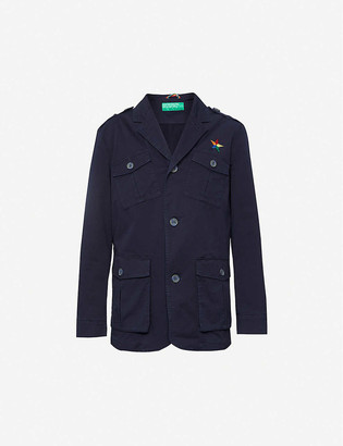 Benetton Star-embroidered stretch-cotton jacket
