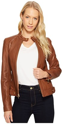 Cole Haan Leather Racer Jacket with Quilted Panels (Chestnut) Women's Jacket