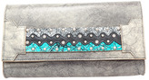 Leather Rock Silver Leather Clutch