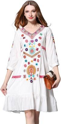 shineflow Womens Casual 3/4 Sleeve Floral Embroidered Mexican Peasant Dressy Tops Blouses Shirt Dress Tunic (S) White