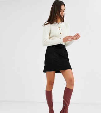 Vero Moda Tall belted mini skirt in black faux suede