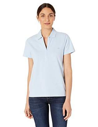 Calvin Klein Women's Plus Size Short Sleeve Johnny Collar Polo