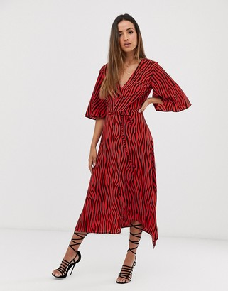 AX Paris v neck hanky hem kimono sleeve dress