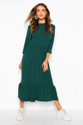 boohoo Woven Tiered 3/4 Sleeve Midi Smock Dress
