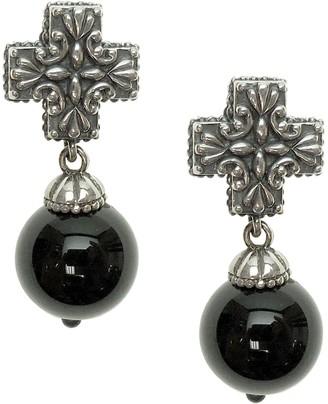 Elyse Ryan Sterling Gemstone Bead Cross Earrings