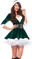 Leg Avenue Green & White Velvet Hooded Dress & Belt Set